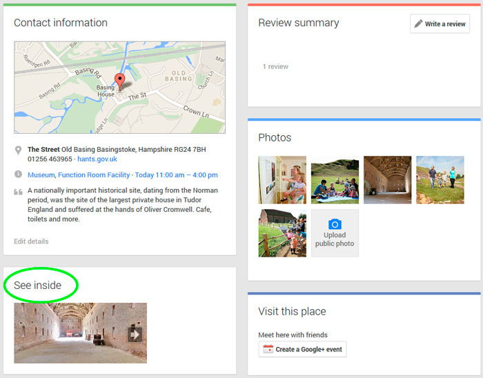 Google Plus's See Inside Business View Example using the Basing House virtual tour.