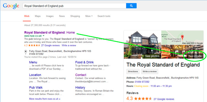 Google Search's See Inside Business View Example using the Royal Standard of England's virtual tour.