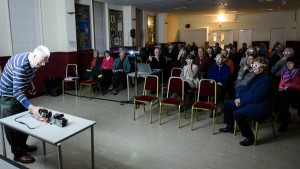 The Basingstoke Camera Club audience  fascinated by Mike Farrow 3D photo presentation
